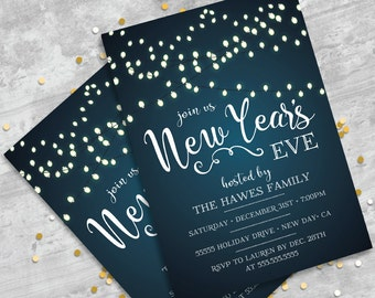 New Year's Invitation - New Year's Eve Party - New Years   You Personalize EDITABLE Text At Home - INSTANT Download D.I.Y. Printable PDF Kit