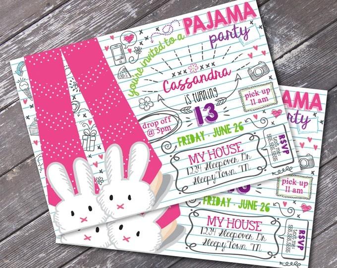 Pajama Party Invitation - Slumber Party, Pajama Party, Donuts & Pajamas, Self-Editing | DIY Editable Text INSTANT DOWNLOAD Printable