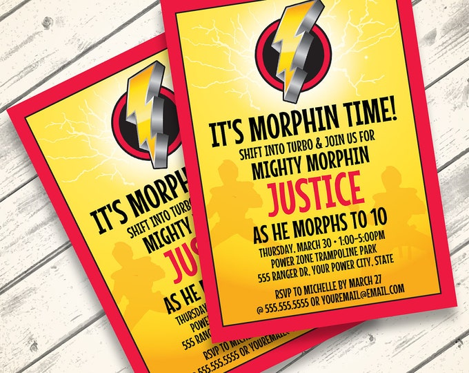 Power Ranger Party Invitation - Morphin Time Birthday,  Ranger Party, Boys Birthday   Editable Text - DIY Instant Download PDF Printable