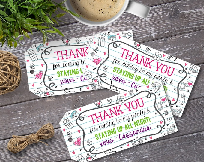 Pajama Party/Sleepover Favor Tag - Slumber Party, Thank You Tags, Birthday Party Favors| DIY Editable Text Instant Download PDF Printable