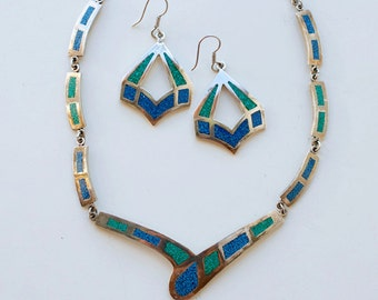 1980s Mexican turquoise chip inlay sterling necklace drop earring set / 80s vintage silver and stone inlaid blue green made in Taxco Mexico
