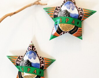 Blowing Rock IPA  or Mountain Shadow Ornaments, Stars from Aluminum Cans, Christmas Ornaments, Set of 2