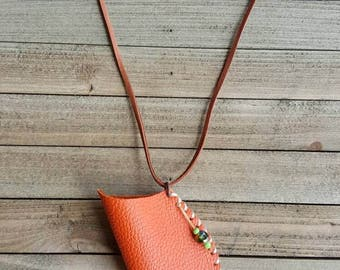Orange leather pouch - amulet bag for crystals - rune bag - Native American inspired medicine bag - hand stitched - one of a kind necklace