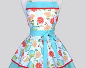 Ruffled Retro Womans Apron / Colorful Coral and Teal Spring Floral Cute Vintage Style Pin Up Kitchen Apron to Monogram or Personalize