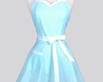 Sweetheart 50s Womens Apron - Mint Blue Polka Dot Retro Cute and Flirty Vintage Style Pin Up Kitchen Apron with Fitted Bodice