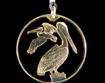 Cut Coin Jewelry - Pendant - British Virgin Islands - Pelican