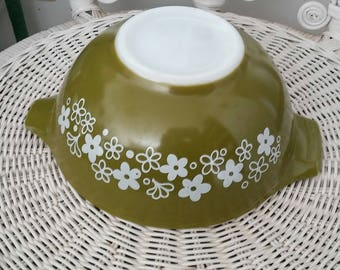 PYREX Spring Blossom Green, Cinderella Bowl, 442, 1 1/2 Quart,  Replacement, 1972 to 1978