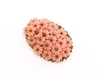 Peach Glass Flower Pin, 1950s Czech Glass Handstitched, Wired Vintage Brooch, Valentine Spring Easter, Pink Peach Flowers
