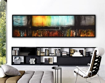 Abstract Painting Large Original Painting Modern Art Colorful Contemporary Oil Painting Abstract Art 20x72 6ft Modern Painting Panoramic Art