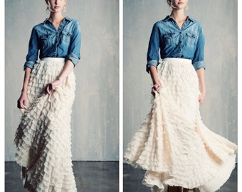 Ivory Ruffle Tulle Wedding Skirt Maxi/Floor Length Bridal Rustic/Country