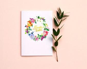 Bride's watercolour foiled wedding notebook