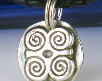 African Adinkra DWENNIMMEN  Ram's Horns Fine Silver Pendant Humility Strength Modesty Toughness- Adinkra Ram's Horn Fine Silver Pendant Gift