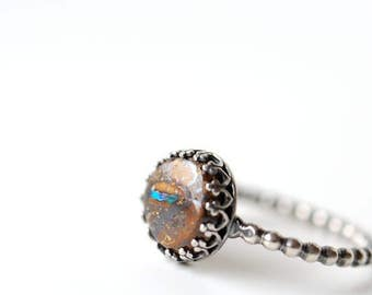 Boulder opal ring, sterling silver ring, Australian opal ring, size 9 ring, resizing possible