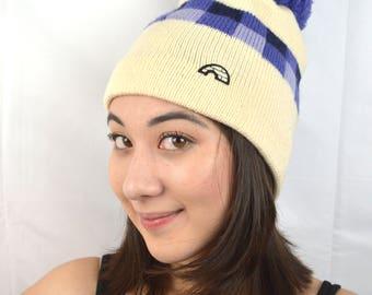 Vintage Wool Knit Winter Ski Slopes Pom Hat