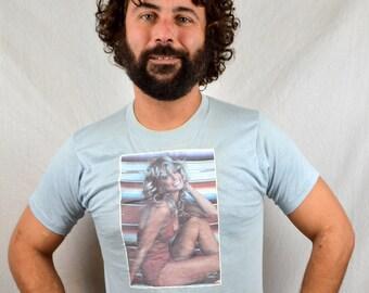 Vintage 1970s Farrah Fawcett Iron On Tee Shirt Tshirt