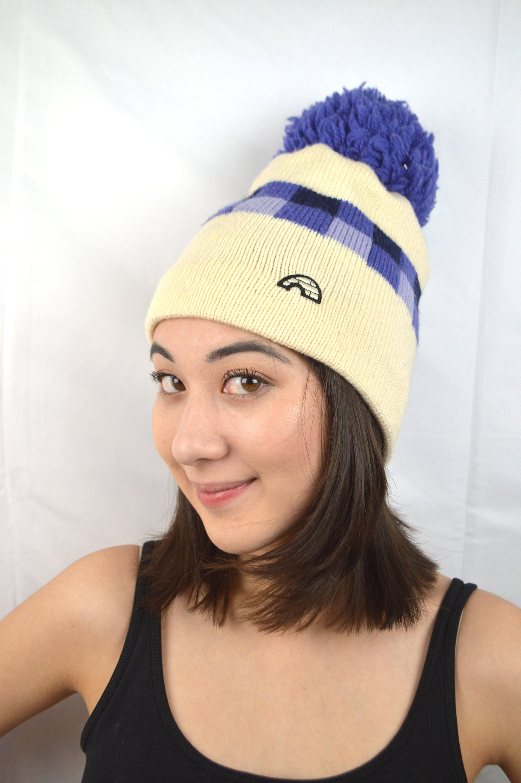 f52d82b9f85 Vintage Wool Knit Winter Ski Slopes Pom Hat