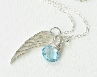 Sterling Silver Angel Wing Necklace with December Birthstone Blue Topaz / Angel Baby Jewelry / Baby Loss Necklace / Memorial Gift