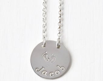 Personalized New Mom Gift Necklace with Baby's Name and Footprints in Sterling Silver