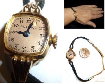 14k Gold Bulova Ladies Watch. Rose Gold Swiss Wrist Watch.