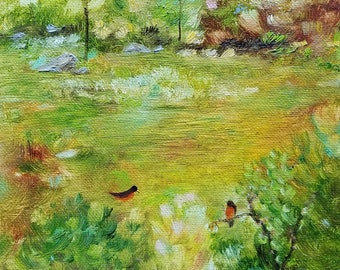 landscape oil painting spring robin original green bird robins birds seasons nature life beauty art trees grass 8x10 - Invincible Spring