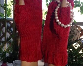 Red Merino Fingerless Gloves