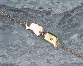 Friendship Bracelet State Shaped Charms, 2 Two State Bracelet, Moving Away Bracelet, Arizona Bracelet, Three State Ohio Bracelet Minnesota