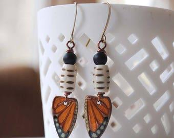 Butterfly Earrings, Monarch Butterfly Jewelry, Nature Inspired Earrings, Orange Earrings, Boho Chic Earrings, Insect Earrings
