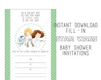 Star Wars Baby Shower Invitation, Instant Download, Fill-in invitation, Star Wars party, Luke Skywalker, Princess Lea, R-2D2, 5x7 Invitation