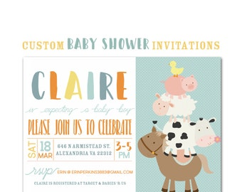 Farm Animal Baby Shower Invitation, Custom Party Invite, Baby Boy, Personalized 5 x 7 Party Invitation, paper and party supplies