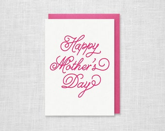 Happy Mother's Day Letterpress Card - Cursive Collection