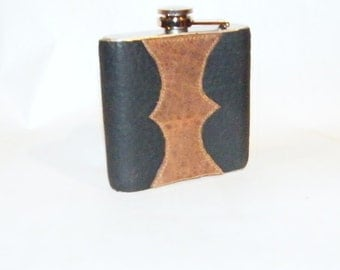 Black and Tan Bison Leather Covered Flask
