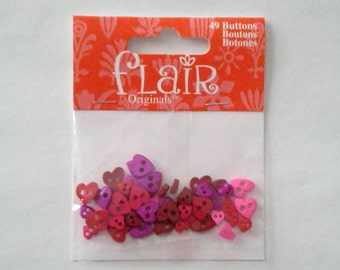 Colorful Mini Heart Buttons - Flair Originals - Set of 49 Buttons
