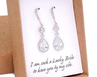 Ada - Wedding Teardrop Bridal Earrings, Silver Screen Beauty, Cubic Zirconia Crystal Teardrop Dangle Earrings, Bridesmaids Earrings
