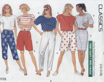 Crop Top, T Shirt, Pull On Straight Skirt, Shorts, Capris, Tapered Pants Sewing Pattern Size 6 8 10 12 14 Butterick 4126 UNCUT Side Pockets
