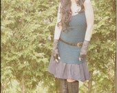 SALE - Dress - Steampunk - Bohemian Gypsy - Burning Man - Playa wear - Boho Fashion - Sexy - Short Dress - Teal and Black - Size X- Small