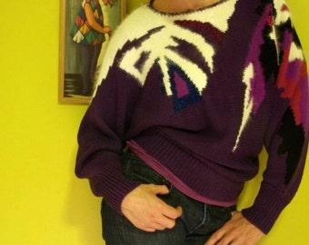 purple franco valeri 80s dolman sweater - 1211276