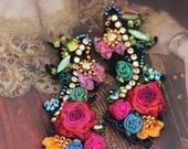 Belle epoque earrings- bold long romantic bohemian earrings, hand beaded