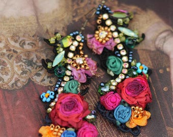 Belle epoque earrings- bold long romantic bohemian earrings, hand beaded