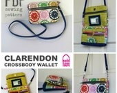 PDF SEWING PATTERN - Clarendon Crossbody Wallet - Card Pockets - Zipper Flap Pockets -  Hold it Right There