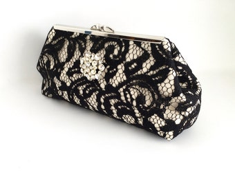 Black lace clutch, lace overlay clutch, black ivory clutch, black clutch, formal clutch, evening bag, vintage inspired clutch, one of a kind