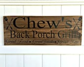 Personalized Bar & Grill Hand-Painted Wooden Sign // Pub Sign // Man Cave Sign // Home Bar Sign // Custom BBQ Sign // BBQ Grill Sign