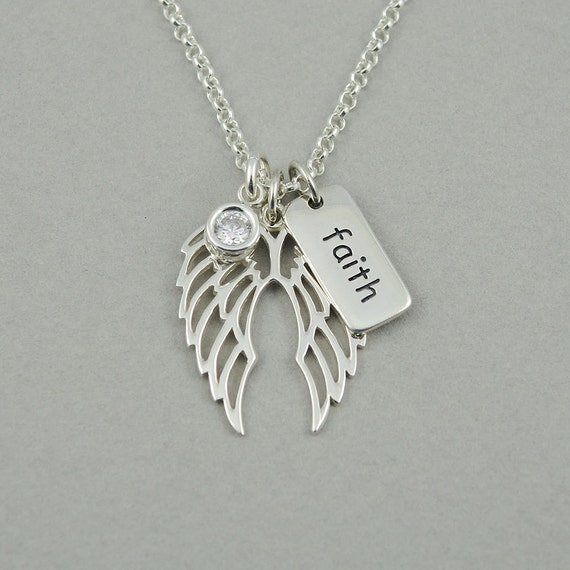 wing necklace sterling silver christian pendant