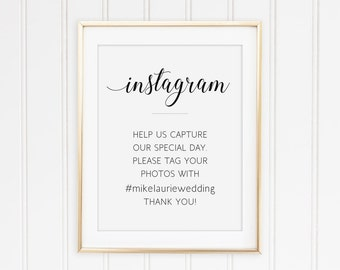 Printable Instagram Wedding Sign, Wedding Social Media Sign, Wedding Hashtag Sign, Wedding Instagram Sign, Personalized Instagram, Alejandra