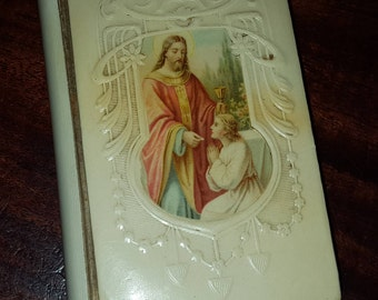 Antique 1899 The Key of Heaven Holy Communion Prayer Book Celluloid cover
