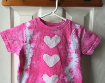 Pink Girls Shirt, Tie Dye Girls Shirt, Batik Girls Shirt, Pink Hearts Girls Shirt, Pink Tie Dye Girls Shirt, Tie Dye Hearts Shirt (3T)