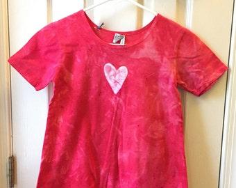 Red Girls Dress, Red Heart Dress, Batik Girls Dress, Girls Heart Dress, Girls Easter Dress, Short Sleeve Dress (8) SALE