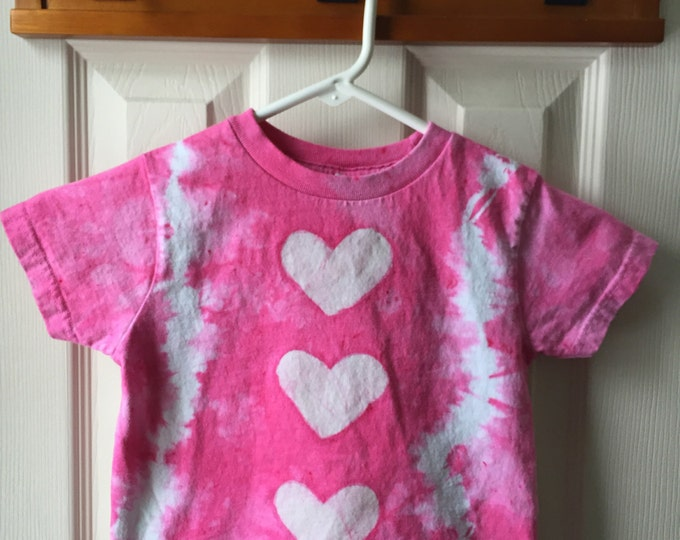 Valentines Day Shirt, Pink Hearts Shirt, Girls Tie Dye Shirt, Girls Valentines Day Shirt, Pink Girls Shirt, Batik Hearts Shirt (3T)