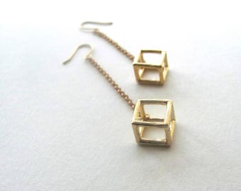 Gold plated geometric 3D cutout square earring on 14k gold plate fixtures, dangle drop