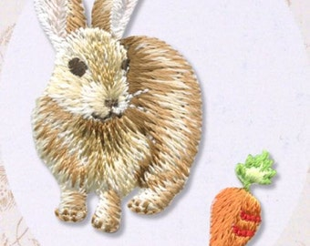 Kawaii Rabbit, Embroidered Iron On Patch, Japanese Iron on Applique, Cute Bunny & Carrot Motif, Animal, Easy Embroidery Applique, W312