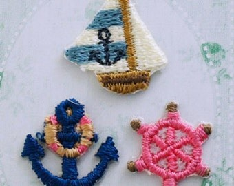 Marine Patch - Embroidered Iron On Patch, Anchor, Yacht, Rudder, Natural, Kawaii Japanese Iron on Applique, Embroidery Applique, 3PCS, w331